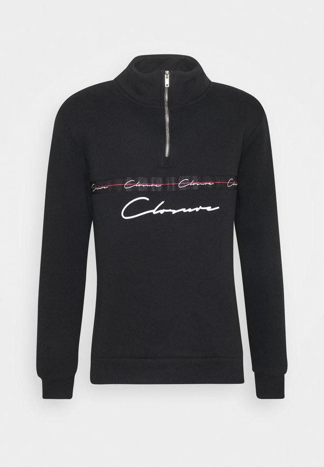 TAPED HALF ZIP FUNNEL NECK - Sweatshirt - black