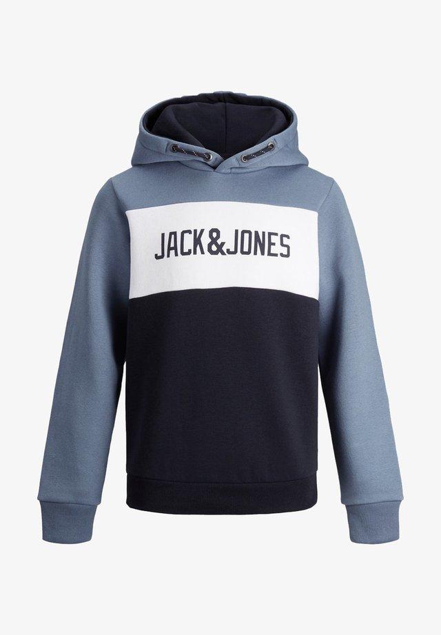 JJELOGO BLOCKING SWEAT HOOD JR - Sweatshirt - china blue