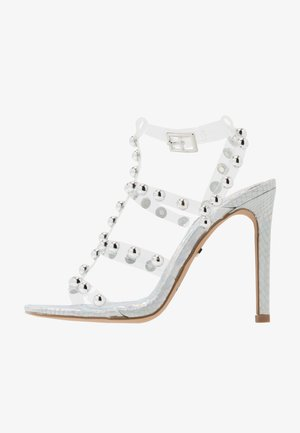 SPACE STUD CAGED - High heeled sandals - silver