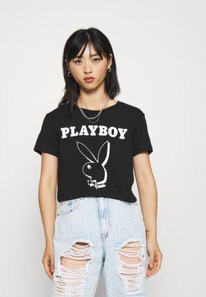 ONLPLAYBOY LIFE CROP - Camiseta estampada - black