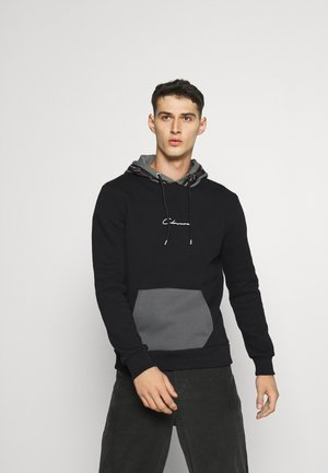 CONTRAST HOOD WITH TAPING - Hoodie - black