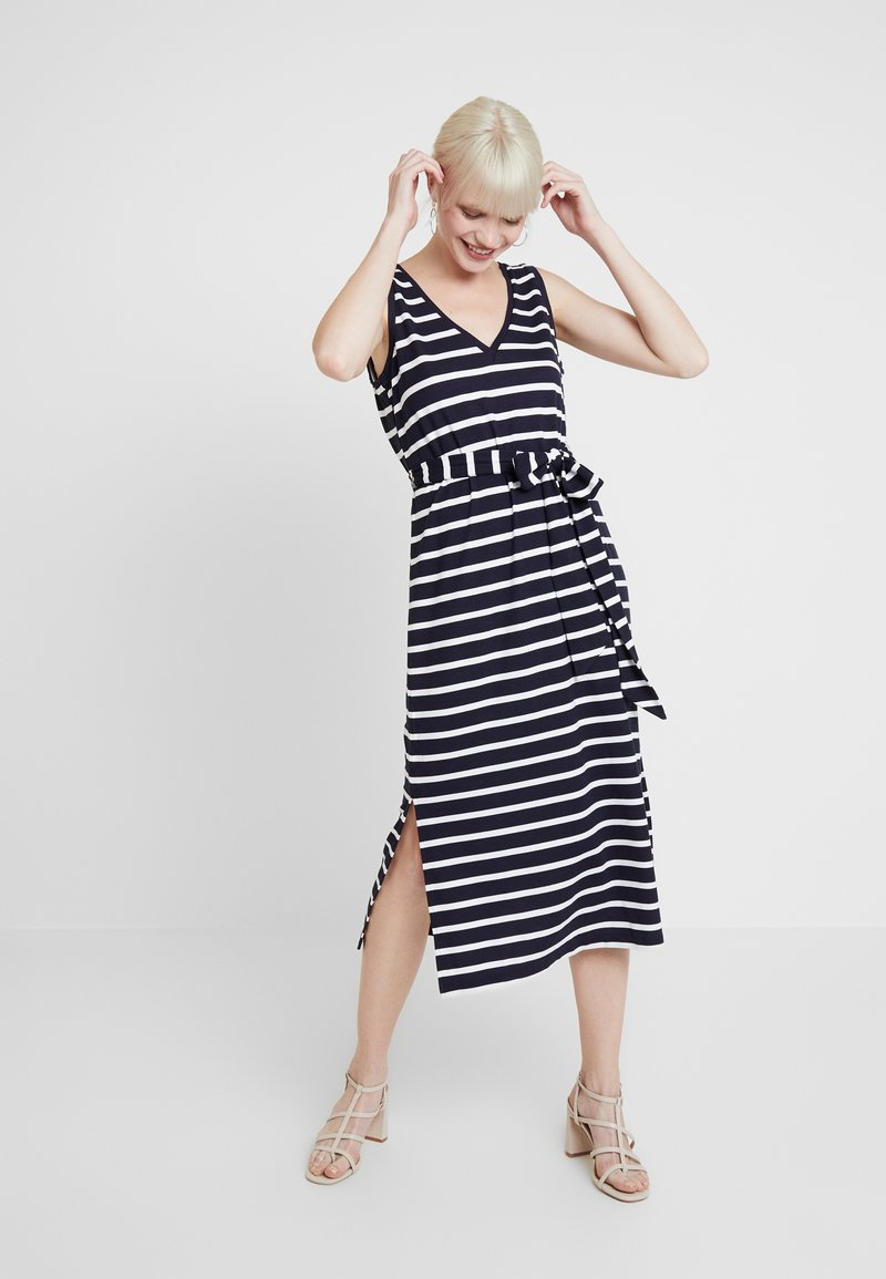 Banana Republic - V NECK TIE WAIST DRESS STRIPE - Jersey dress - navy