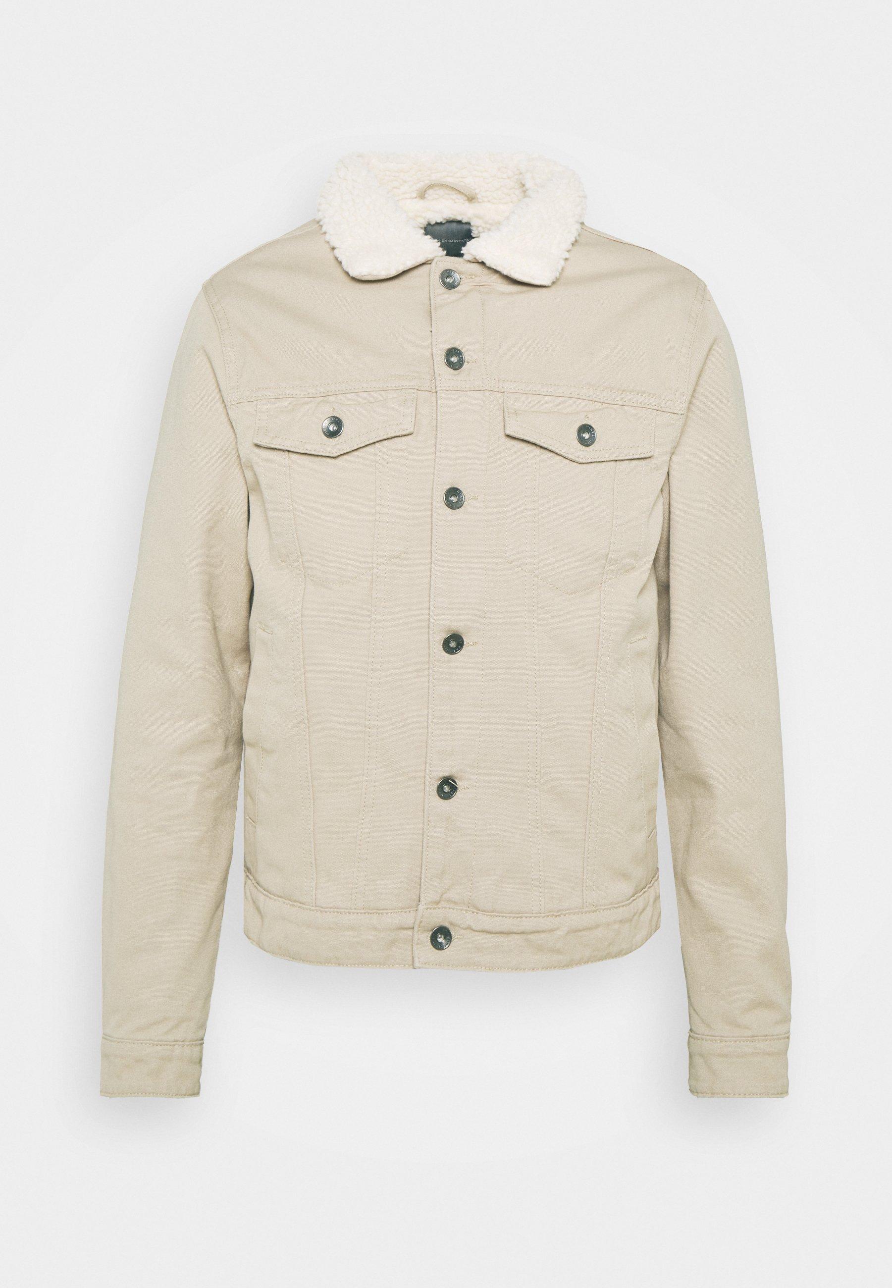 Women UNISEX BORG JACKET - Denim jacket - stone