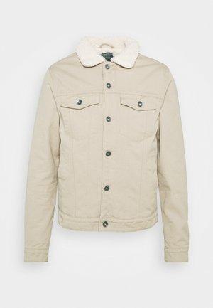 UNISEX BORG JACKET - Denim jacket - stone