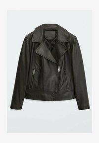 Massimo Dutti - BIKER - Leather jacket - black - 0