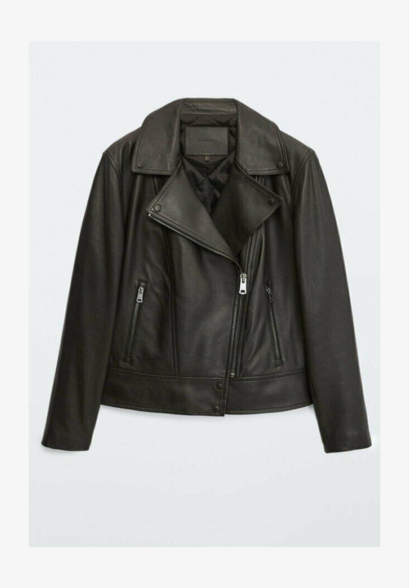 Massimo Dutti - BIKER - Leather jacket - black