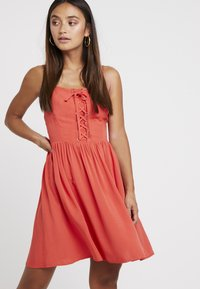 New Look Petite - EYELET LATTICE FRONT MINI - Day dress - red - 0