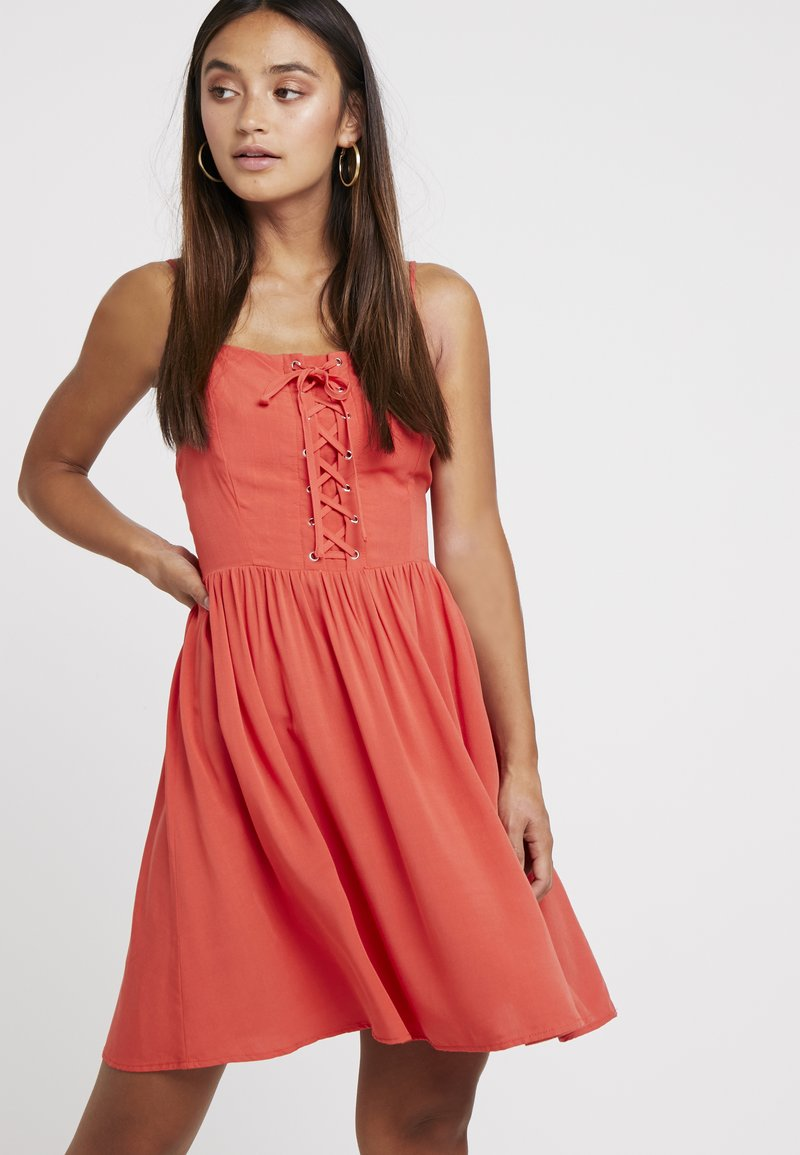 New Look Petite - EYELET LATTICE FRONT MINI - Day dress - red