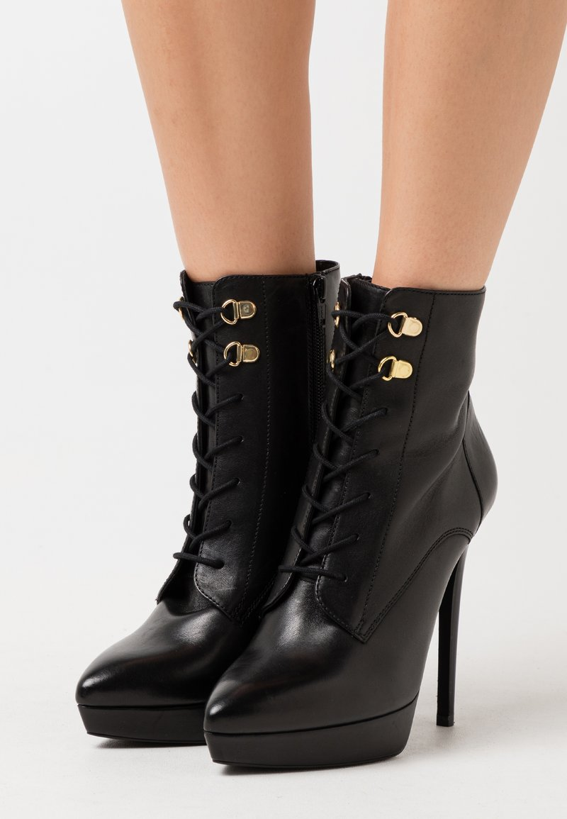 Even&Odd - LEATHER - High heeled ankle boots - black