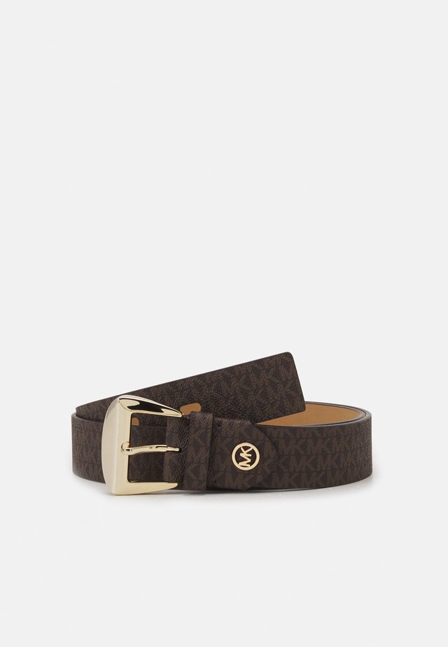 LOGO BELT - Gürtel - brown/black/gold-coloured