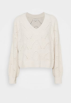 POINTELLE SLOUCHY VEE - Jumper - cream