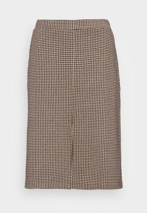 KASJA - Pencil skirt - toasted coconut check