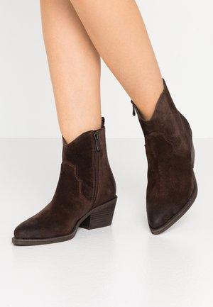 Cowboy/biker ankle boot - mocca