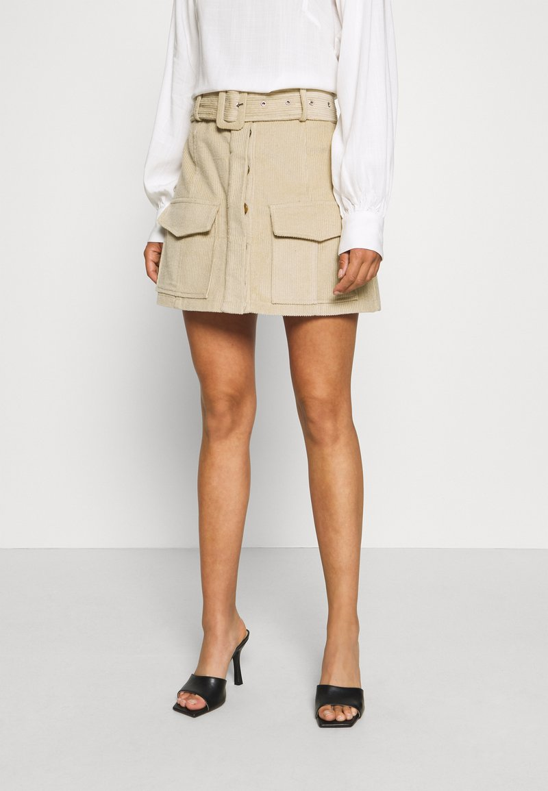 Glamorous Petite - BELTED MINI SKIRT WITH POCKET DETAIL - Pencil skirt - stone corduroy