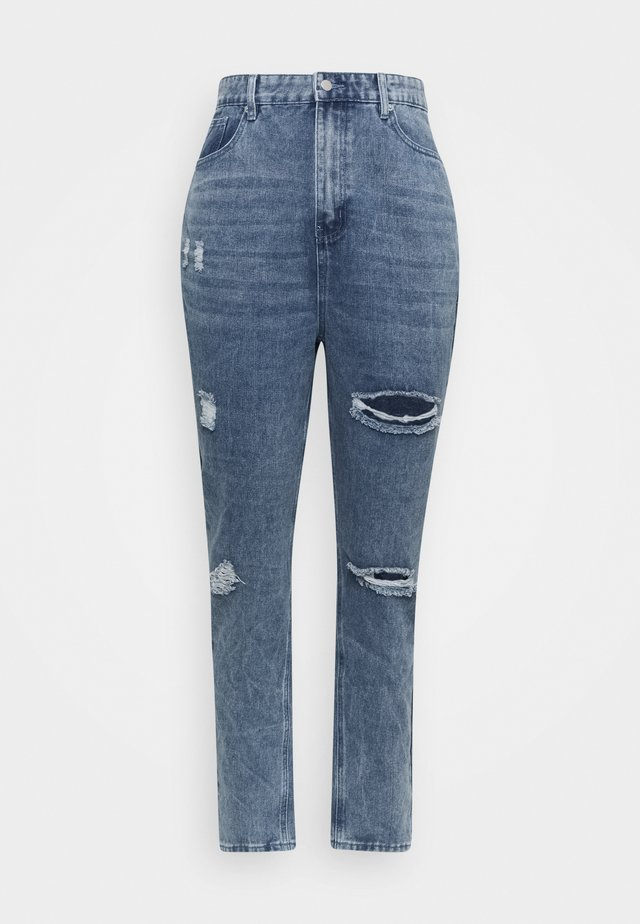 DISTRESSED DETAIL WASHED  - Jeans baggy - blue