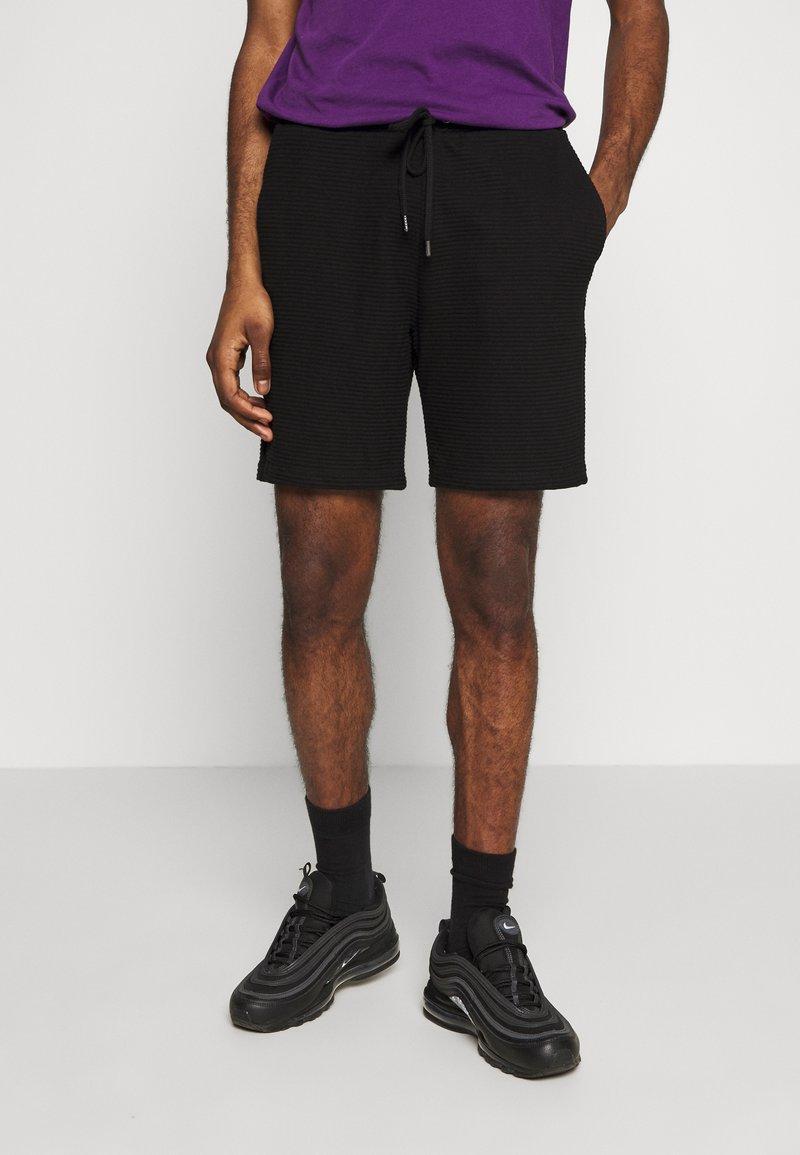 Topman - STRUCTURED - Tracksuit bottoms - black