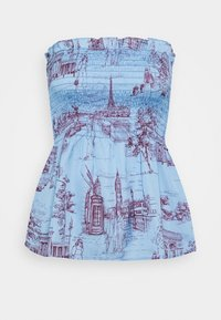 Who What Wear - SMOCKED STRAPLESS - Top - toile blue/burgundy - 3