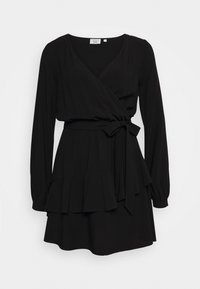 NA-KD - PAMELA REIF X NA-KD OVERLAPPED DETAIL FRILL MINI DRESS - Day dress - black - 0