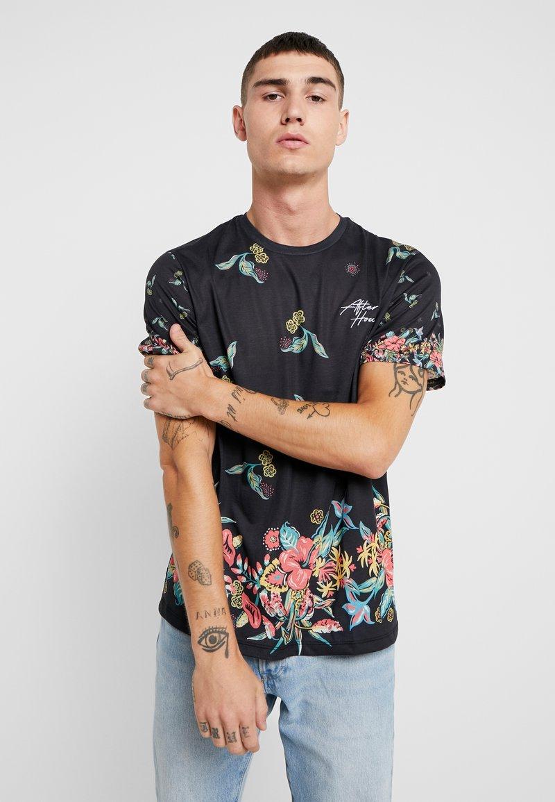 Topman - JAPANESE FLORAL TEE - Print T-shirt - black