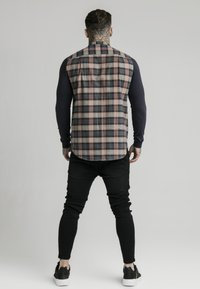 SIKSILK - LONG SLEEVE CHECK GRANDAD - Shirt - navy/tan - 2