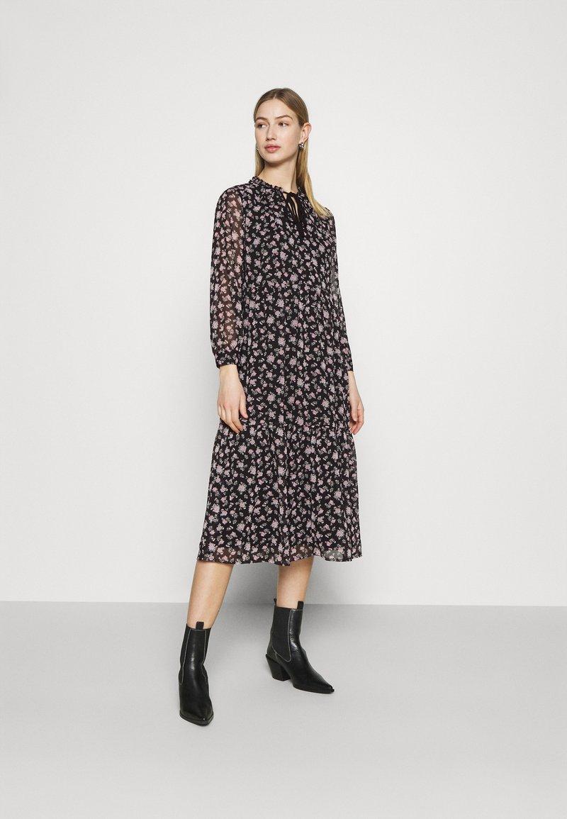 Vero Moda - VMFILIA TIE CALF DRESS - Day dress - black/rose