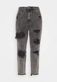 Missguided Petite - RIOT HIGH RISE RIPPED MOM AUTHENTIC - Jeansy Relaxed Fit - grey - 4