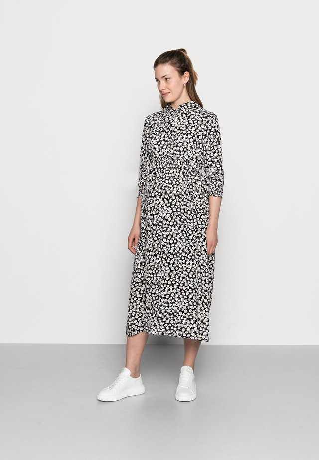 PCMIDA MIDI DRESS - Shirt dress - black/white/purple