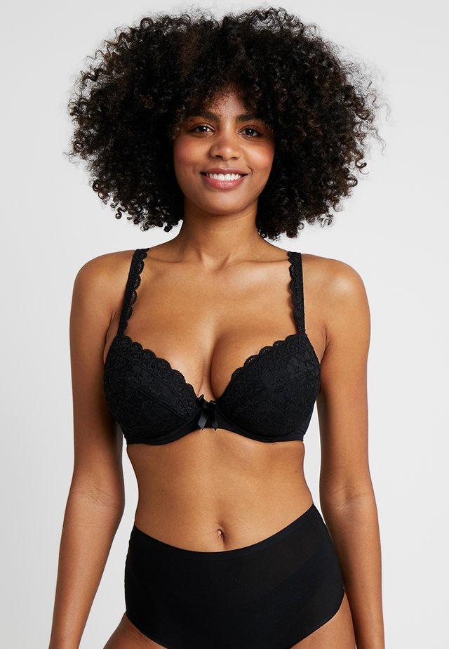 REBEL PADDED PLUNGE BRA - Push-up BH - black
