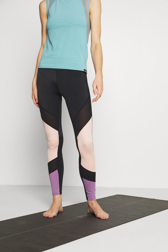 7/8 COLOURBLOCK  LEGGING - Urheilucaprit - black