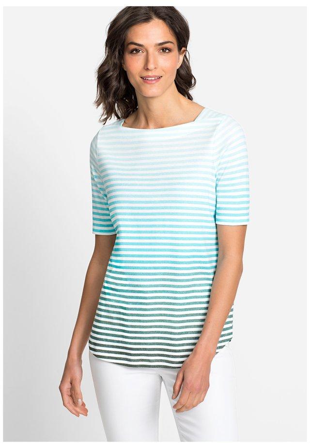 MIT STREIFEN FARBVERLAUF - Print T-shirt - light blue