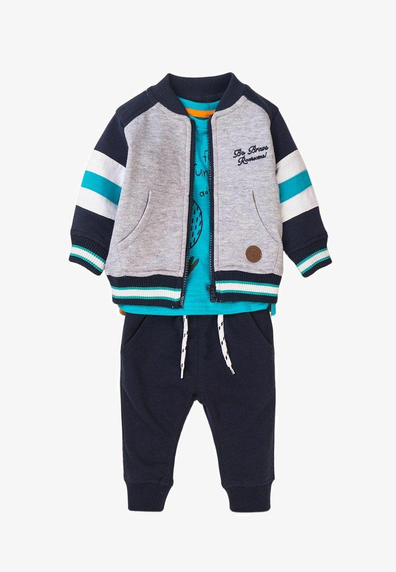 MINOTI - 3 SET - Zip-up sweatshirt - dark blue light blue grey
