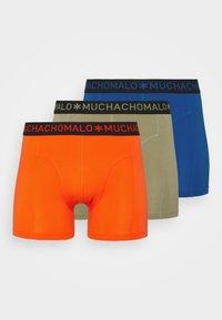orange/royal blue/khaki