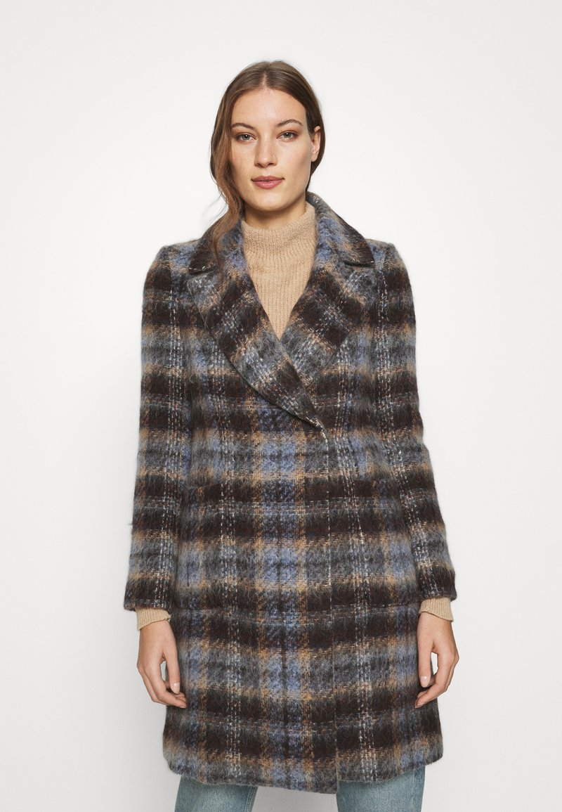Banana Republic - BRUSHED PLAID COAT - Classic coat - brown/blue