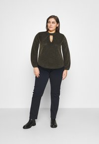 CAPSULE by Simply Be - GLITTER FASHION ESSENTIAL - Blouse - black/gold - 1