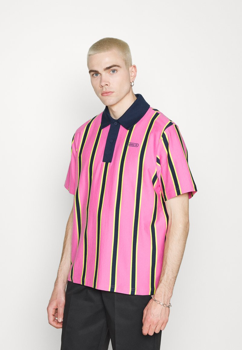 adidas Originals - STRIPE UNISEX - Pikeepaita - screaming pink/yellow/collegiate navy