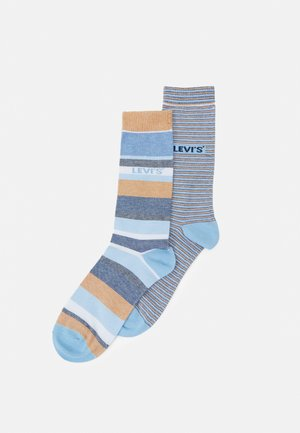 REGULAR CUT MICRO STRIPE 2 PACK - Socks - brown/blue