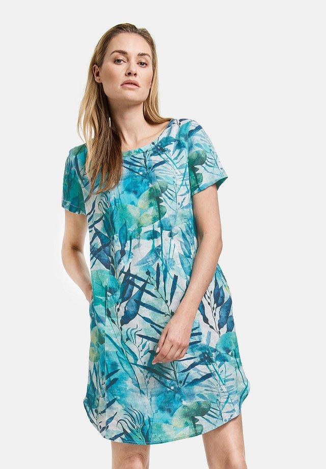 Korte jurk - grün/blau druck