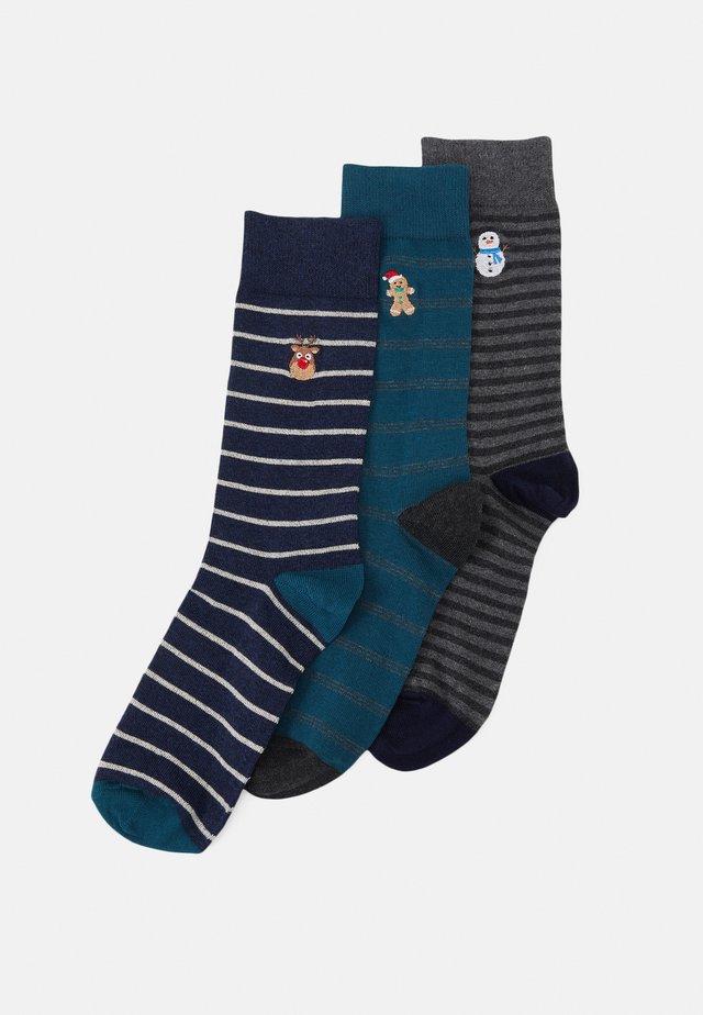 3 PACK - Calze - mottled blue/mottled grey/teal