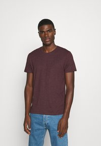Burton Menswear London - SHORT SLEEVE CREW 5 PACK - T-Shirt basic - black/white/navy/light grey marl/burgundy marl - 3