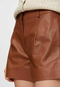 YAS - Leather trousers - tobacco brown