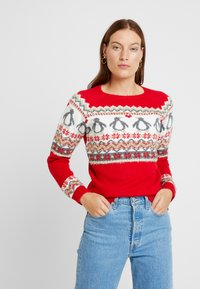 Dorothy Perkins - FAIRISLE TINSEL PENGUIN - Maglione - red - 0