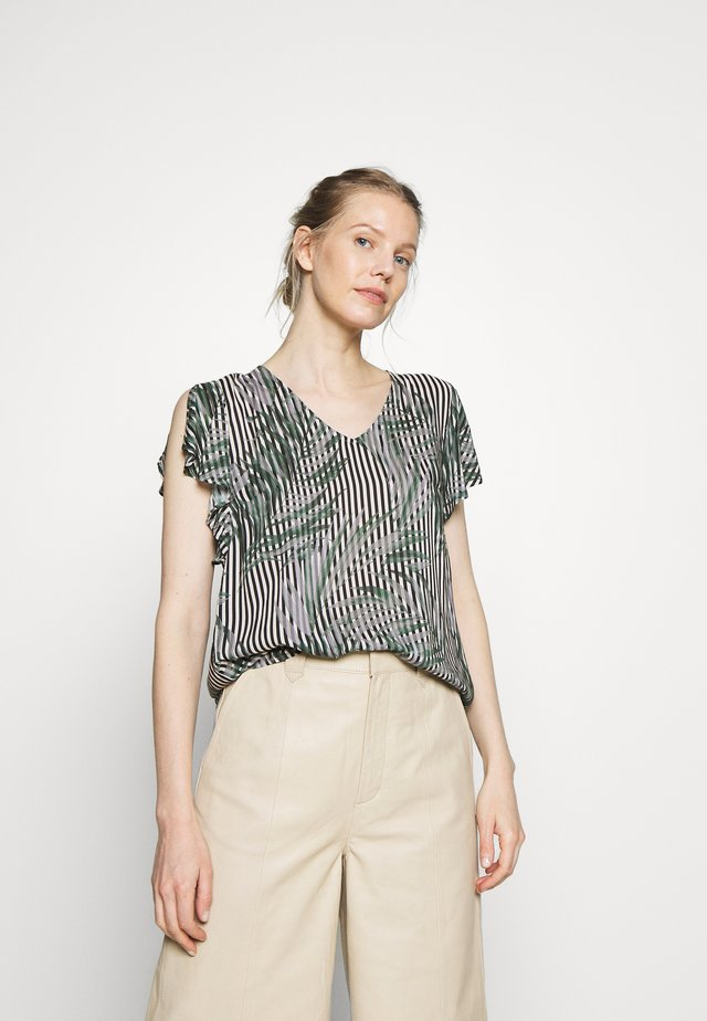 Blouse - black/green