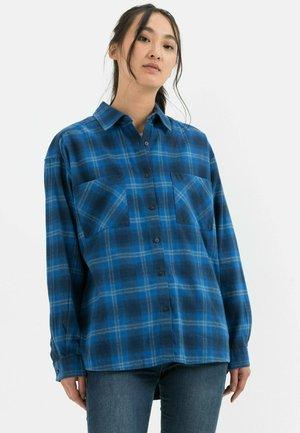 Button-down blouse - check dark navy