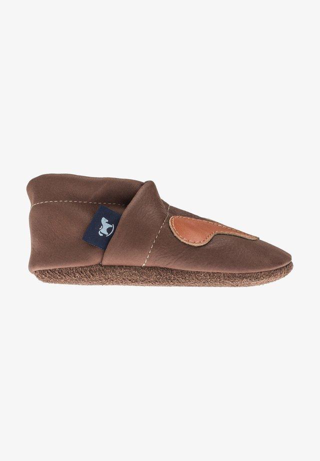 First shoes - dunkelbraun / orange