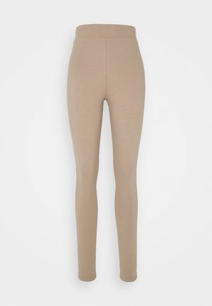 ZIP DETAILED  - Leggings - Trousers - beige