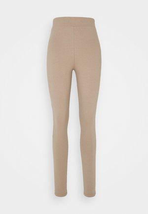 ZIP DETAILED  - Leggings - beige