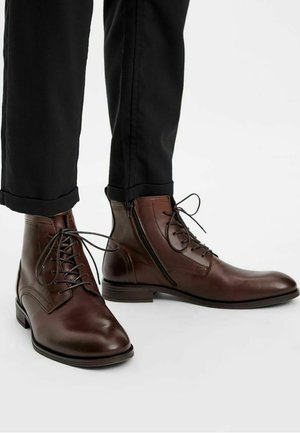 Lace-up ankle boots - darkbrown