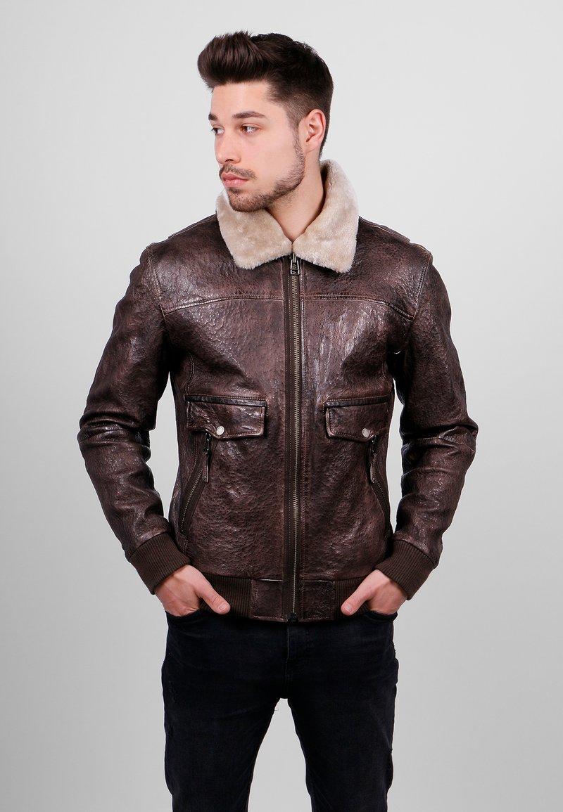 Freaky Nation - Leather jacket - dark brown