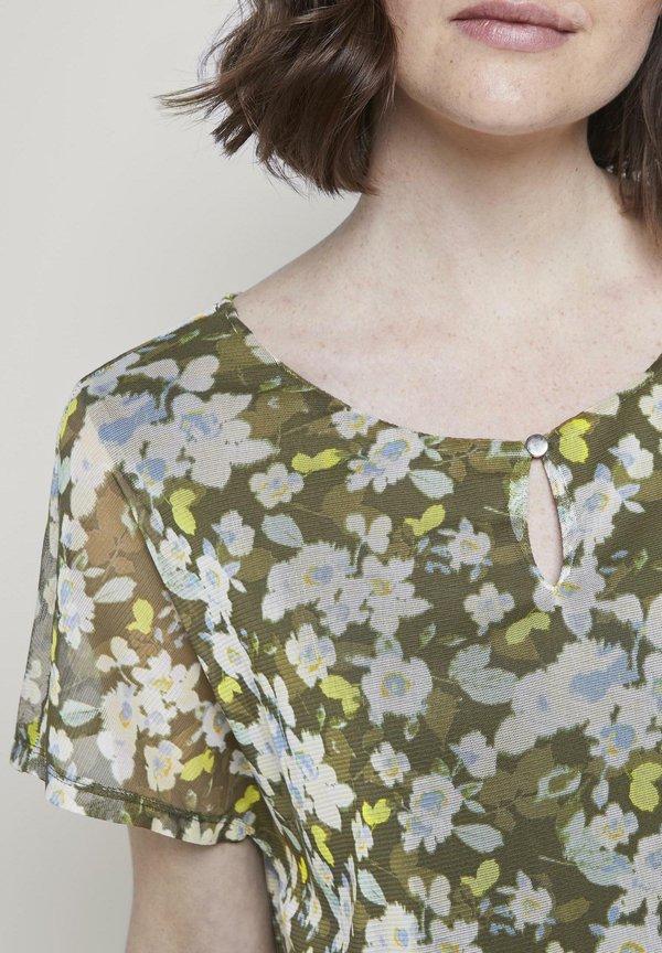TOM TAILOR TOM TAILOR T-SHIRT GEMUSTERTES T-SHIRT MIT MESH-OVERLAYER - Bluzka - small khaki floral design/oliwkowy CHIP