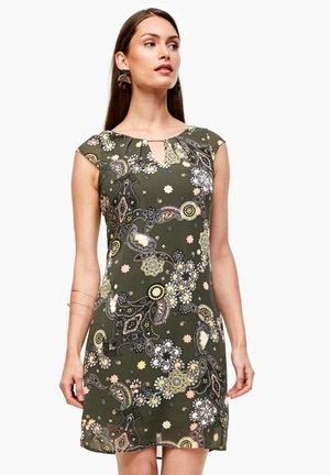 Day dress - khaki ornamental print